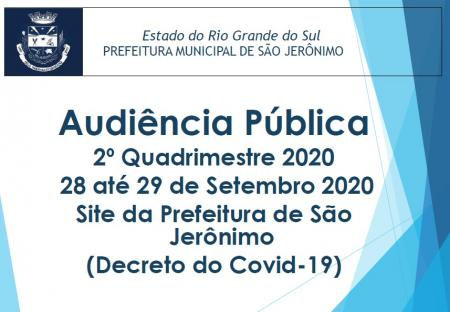 Audiência Pública 2º Quadrimestre 2020