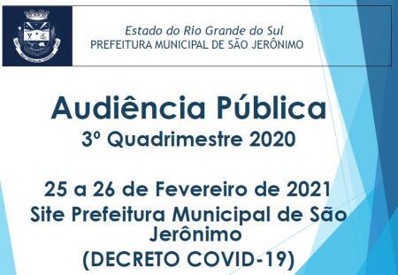 Audiência Pública 3º Quadrimestre 2020